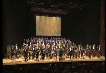 With the Royal Philharmonic Orchestra at The Barbican, London, for the World Premiere of May Peace Prevail On Earth